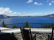 Crater Lake View Framed Prints - Lodge Veranda Framed Print by Methune Hively
