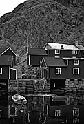 Lofoten Islands Photos - Lofoten Fishing Huts bw by Steve Harrington