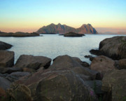Lofoten Islands Framed Prints - Lofoten Sunset Framed Print by Helene Sobol