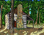Log Cabin Art Posters - Log Cab in Poster by Stan Hamilton