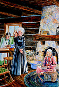 Log Cabin Art Paintings - Log Cabin Activity by Hanne Lore Koehler