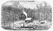 Log Cabin Prints - LOG CABIN, c1800 Print by Granger