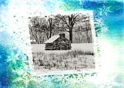 Log Cabin Digital Art Prints - Log Cabin Christmas Card Print by Bill Cannon