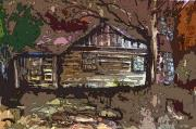 Watercolor Digital Art Originals - Log Cabin in Autumn by Mindy Newman