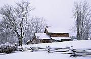 Log Cabin Photos - Log Cabin in Snow by Alan Lenk