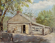 Salt Lake Painting Prints - Log Cabin Print by Lewis A Ramsey