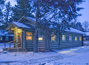 Winter Photographs Posters - Log cabin library 1 Poster by Jim Wright