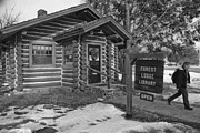 Log Cabin Photographs Framed Prints - Log cabin library 11 Framed Print by Jim Wright