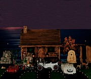Log Cabins Prints - LOG CABIN SCENE at sunset with old classic cars Print by Leslie Crotty