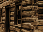 Sepia Prints - Log Cabin Print by Scott Hovind