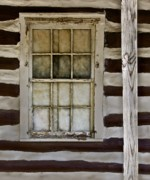 Cabin Window Prints - Log Cabin Window Print by Murray Bloom