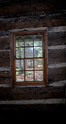Cabin Window Framed Prints - Log Cabin Window Framed Print by Nina Fosdick