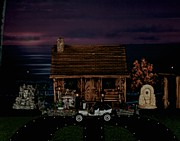 Log Cabins Prints - LOG CABINS SCENE at sunset with 1908 ford model T Print by Leslie Crotty