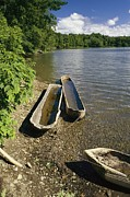 Cooperstown Photos - Log Canoes On The Banks Of A Recreated by Raymond Gehman