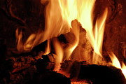Fireplace Photos - Log fire by Sami Sarkis