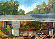Jam Painting Originals - Log Jam Zinns Bridge by Charlie Spear
