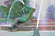 Hall Digital Art Prints - Logan Circle Fountain 4 Print by Bill Cannon