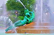 Hall Digital Art Prints - Logan Circle Fountain 6 Print by Bill Cannon