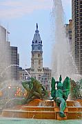 Hall Digital Art Prints - Logan Circle Fountain with City Hall in Backround 3 Print by Bill Cannon