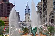 City Hall Prints - Logan Circle Fountain with City Hall in Backround 4 Print by Bill Cannon