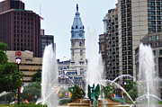 City Hall Digital Art - Logan Circle Fountain with City Hall in Backround by Bill Cannon