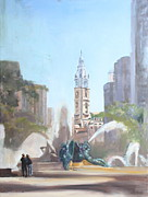 Ben Franklin Paintings - Logan Fountain and City Hall by Peg Ott Mcguckin