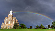 Thunderstorm Framed Prints - Logan Mormon LDS Temple Rainbow  Framed Print by Gary Whitton