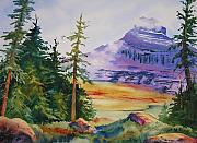 Summit Painting Posters - Logan Pass Poster by Karen Stark
