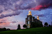 Temples Photos - Logan Temple Heavens Light by La Rae  Roberts