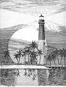 Historical Buildings Drawings Prints - Loggerhead Key Lighthouse Print by Lawrence Tripoli
