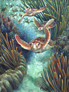 Treasures Paintings - Loggerhead Sea Journey III by Nancy Tilles