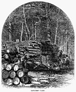 Logging Camp Prints - Loggers Camp, 1868 Print by Granger