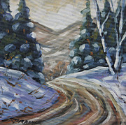 Canadian Artist Painter Painting Originals - Logging Road in Winter by Prankearts by Richard T Pranke