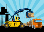 Tower Crane Posters - Logging Truck Poster by Aloysius Patrimonio