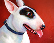 English Bull Terrier Framed Prints - Lola - English Bull Terrier Framed Print by Denise Laurent