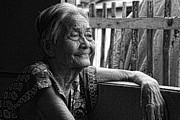 Filipino Prints - Lola Laraine Favorite Spot Image 28 in Black and White Print by James Bo Insogna
