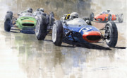 Hill Paintings - Lola Lotus Cooper Ferrari Datch GP 1962 by Yuriy  Shevchuk