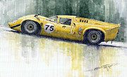 Watercolor Metal Prints - Lola T70 Metal Print by Yuriy  Shevchuk