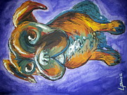 Boxer Puppy Paintings - Lolas eyes by Laura Powell