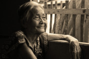 Filipina Prints - Lolas Favorite Spot Image 28 in Black and White Sepia Print by James Bo Insogna