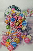 Candy Painting Originals - Lollypops by Terry Honstead