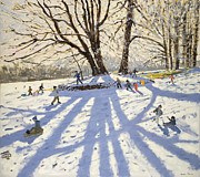 Winter Painting Framed Prints - Lomberdale Hall Derbyshire  Framed Print by Andrew Macara