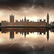 Europe Digital Art Metal Prints - London - The Houses of Parliament  Metal Print by Jaroslaw Grudzinski