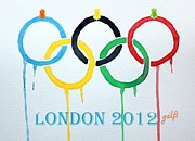 2012 Mixed Media - London 2012 Summer Olympics Logo watercolor by Georgeta  Blanaru