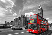 Selective Color Framed Prints - London Big Ben And Red Bus Framed Print by Yhun Suarez