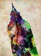 Watercolor Metal Prints - London Big Ben Urban Art Metal Print by Michael Tompsett