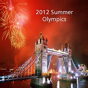 London Print Originals - London Bridge 2012 Olympics by Florene Welebny