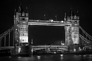 Kamil Swiatek Posters - London Bridge at Night BW Poster by Kamil Swiatek