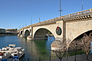 Stone Bridge Framed Prints - London Bridge Lake Havasu City - The Worlds Largest Antique Framed Print by Christine Till