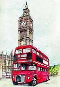 Bus Framed Prints - London Bus and Big Ben Framed Print by Morgan Fitzsimons
